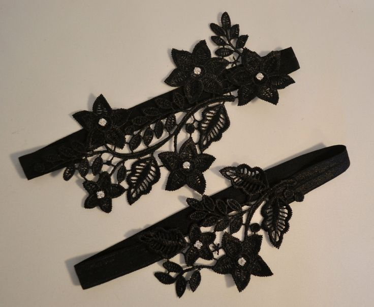 Black Lace Wedding Garter Set Floral Belt Bridal