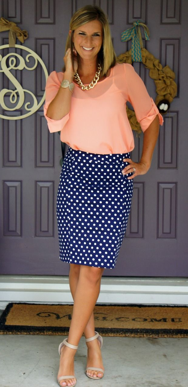 We're loving this stylish combo of summer peach and classic polka dots that Erin of Living in Yellow put together from her last Fix. Perfect for work or play!