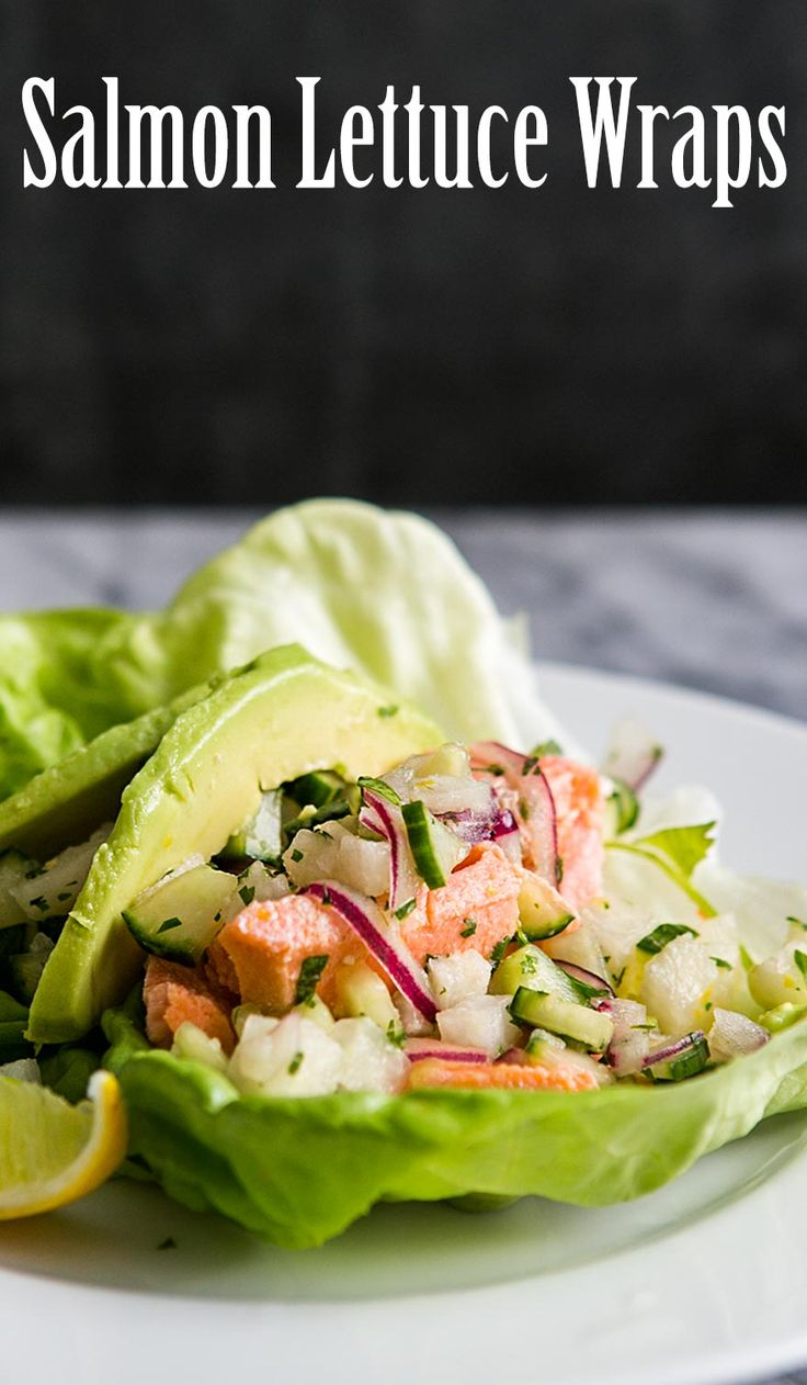 Salmon Lettuce Wraps! Fresh and healthy lettuce wrap with poached salmon, cucumber jicama, and ginger. #paleo #glutenfree #lowcarb…