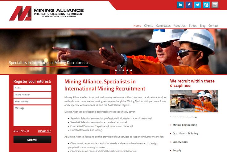 Mining Alliance is a CMS driven website that offers international mining recruitment service