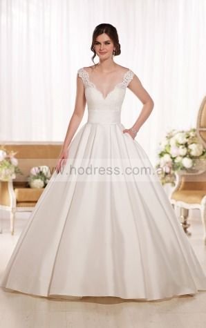 Ball Gown V-neck Natural Cap Sleeves Floor-length Wedding Dresses wes0278--Hodress
