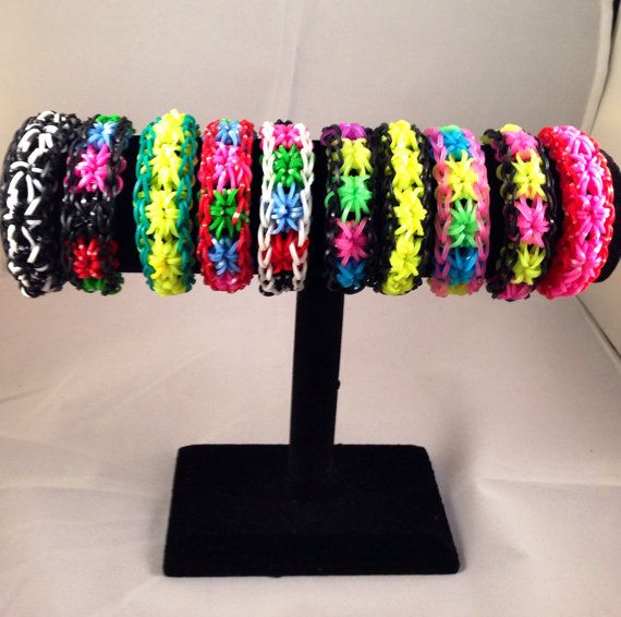 Rainbow Loom Starburst  Bracelet Fun Rubber Band by tomtill, $15.99