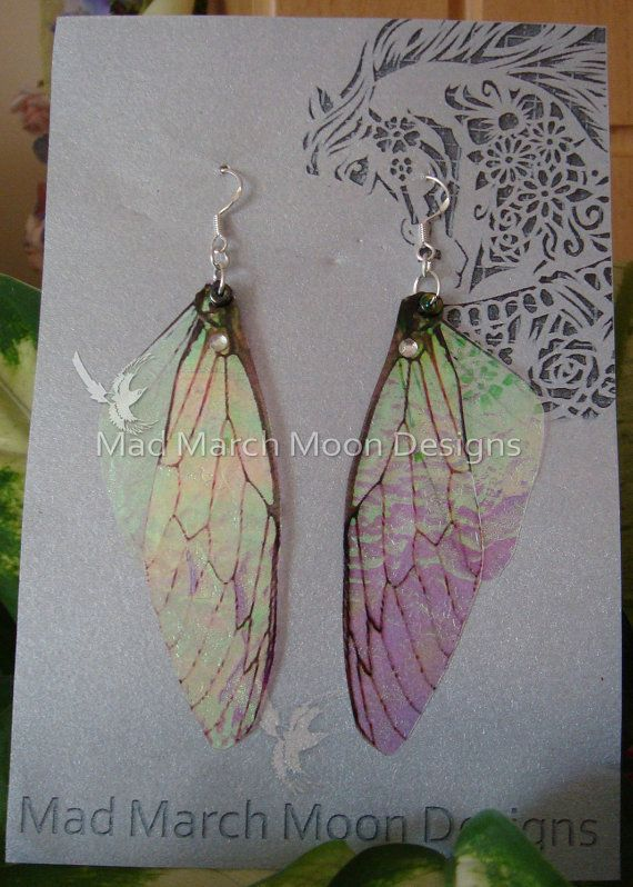 Fairy wing earrings iridescent cicada style with by MadMarchMoon