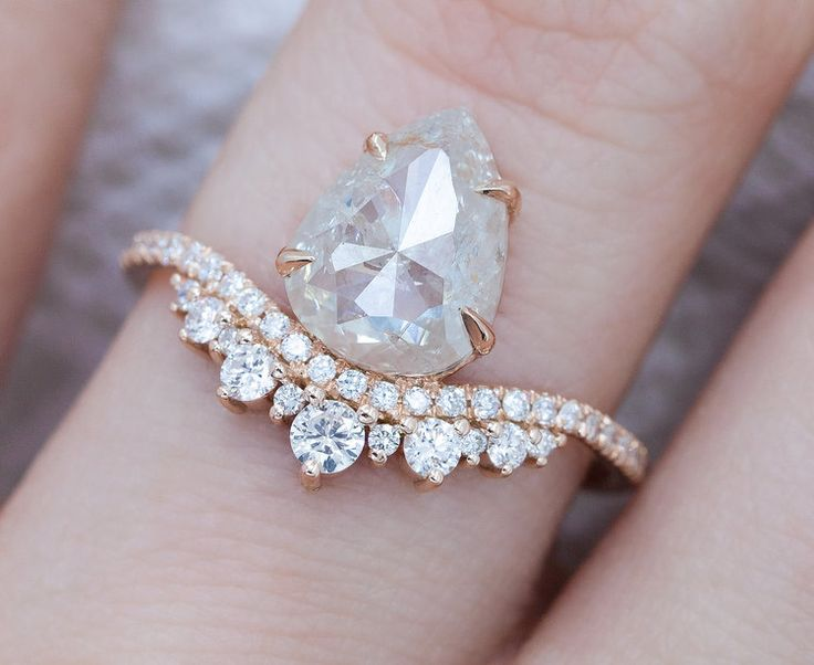 1.70 Carat Rustic Rose Cut Pear Diamond Ring in Rose Gold by Everett #everettnyc