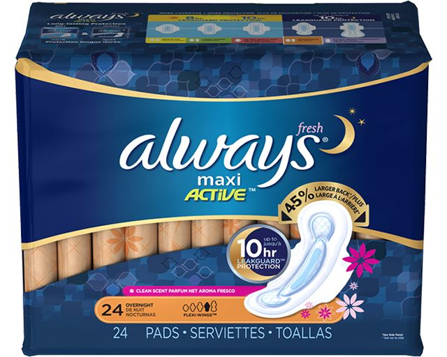 Always Fresh MAXI Pads Overnight with Flexi-Wings