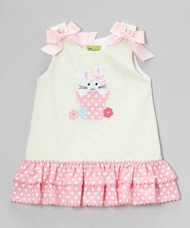 Lime & Pink Bunny Ruffle Jumper - Infant, Toddler & Girls #zulily #zulilyfinds