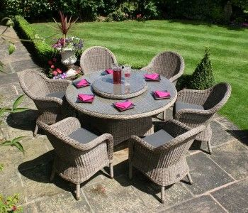bridgman 6 seater rattan furniture set 150cm bali table and 6 ohio armchairs