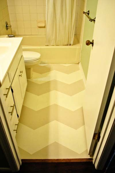 Diy painted linoleum chevron floors via minted life for Tile linoleum bathroom