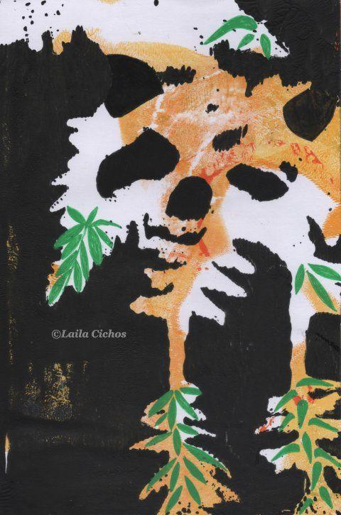 """Panda in hiding"". Acrylic on paper. Akryl på papir."