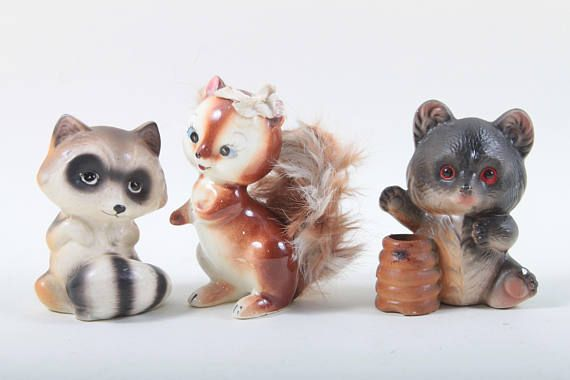 Woodland Animal Figurines Vintage Ceramic Squirrel Fluffy Etsy Animal Figurines Woodland Animals Squirrel
