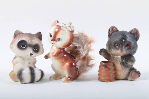 Woodland Animal Figurines Vintage Ceramic Squirrel Fluffy Etsy Animal Figurines Woodland Animals Squirrel