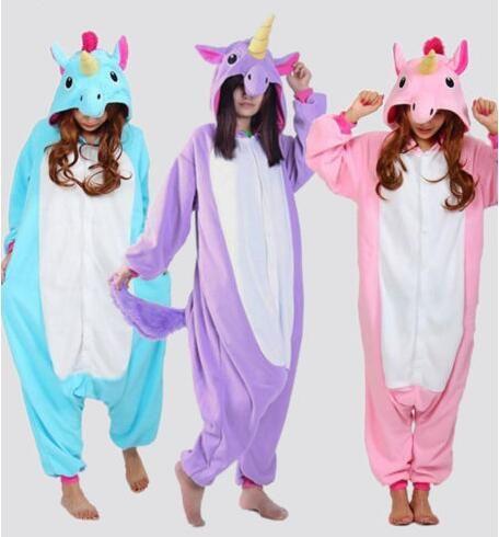 Freies verschiffen 2016 Großhandel New Erwachsene Unisex Flanell Hoodie Pony Unicorn Pyjamas Kostüm Cosplay Tier Onesies Nachtwäsche
