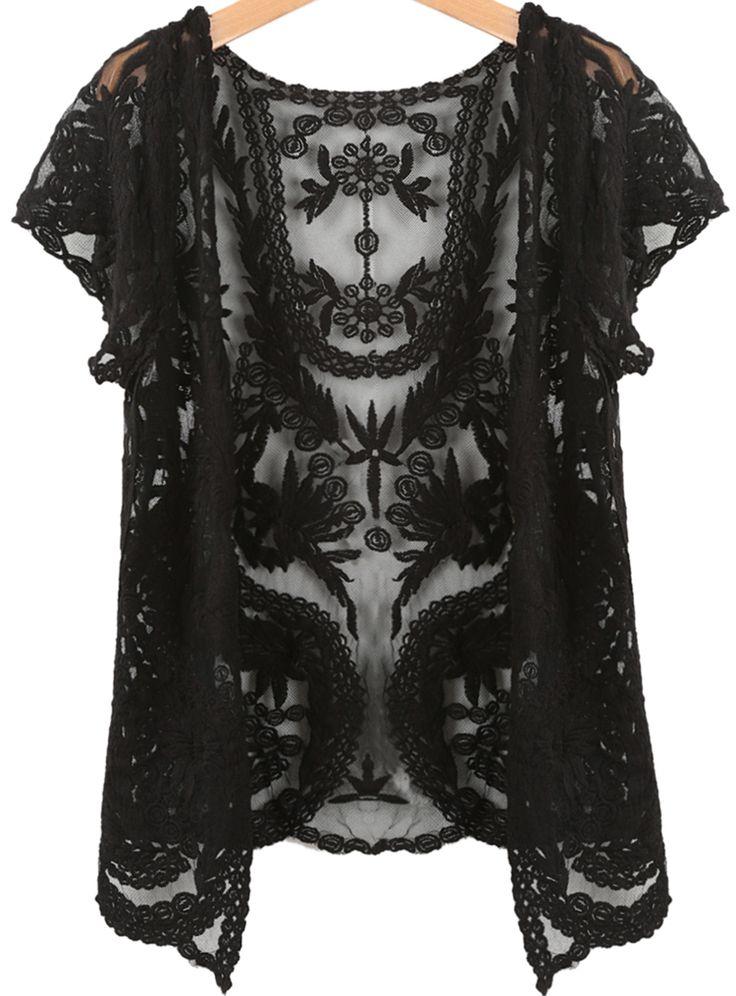 Black Short Sleeve Crochet Net Lace Cardigan -SheIn(Sheinside)
