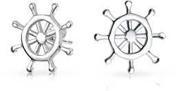Bling Jewelry Nautical Ship Wheel Small Stud Earrings 925 Sterling Silver 10mm.