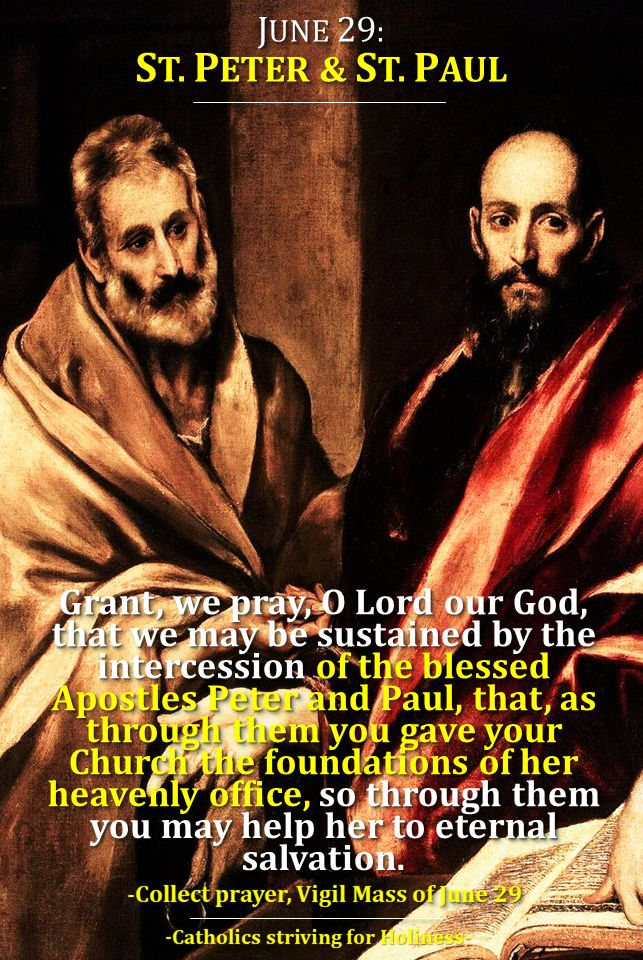 JUNE 29: STS. PETER AND PAUL (1) You are Peter and on this Rock I will build My Church The Gospel of the June 29 Mass during the day (there is also a Vigil Mass) speaks to us about the PETER'S PROF…