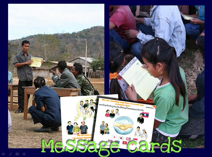 A set of visual message cards from Laos for introducing child sponsorshpi.