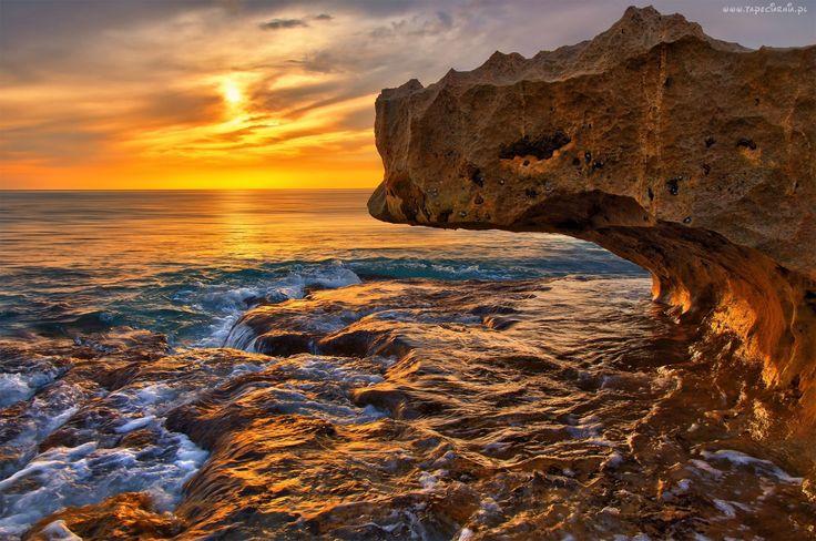 Morze, Skały, Zachód, Słońca, Klif