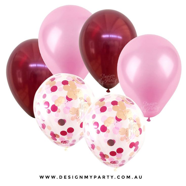 Passion Pop Glam Rose Gold, Raspberry, Mulberry Balloon Mix with 2 Confetti Balloons (12 Pack)