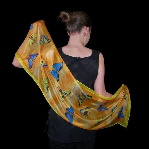 Orange silk scarf  butterflies butterfly blue yellow by SilkaShop
