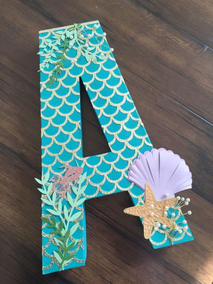 freestanding letter photoshoot prop, paper mache letter, mermaid theme photo prop, birthday photoshoot prop, under the sea photoshoot prop(Etsy のPoppiesandPaperShopより) https://www.etsy.com/jp/listing/285774031/freestanding-letter-photoshoot-prop