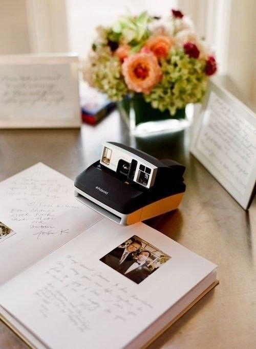 Очень интересная идея для свадьбы - книга для пожеланий со снимками знаменитого Polaroid, который проявляет их моментально. Гости могут делать снимки в реальном времени, тут же приклеивать их в книгу и подписывать свои теплые пожелания.    #wedding #bride #flowers #свадьбаВолгоград #свадьбаВолжский #декорнасвадьбу #свадьба #Волгоград #Волжский