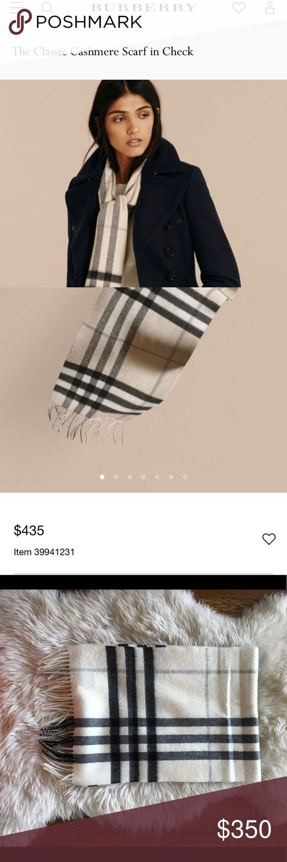 Burberry Cashmere Scarf in Natural White Beautiful Burberry classic cashmere scarf in Natural White. Still available online. Cream background with light gray and black check. Only worn a few times. Great Condition! Burberry Accessories Scarves & Wraps