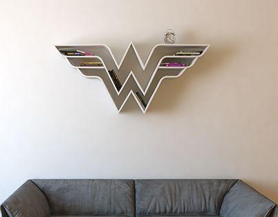 Wonder Woman, logo, shelf, interrior, design, bookshelf