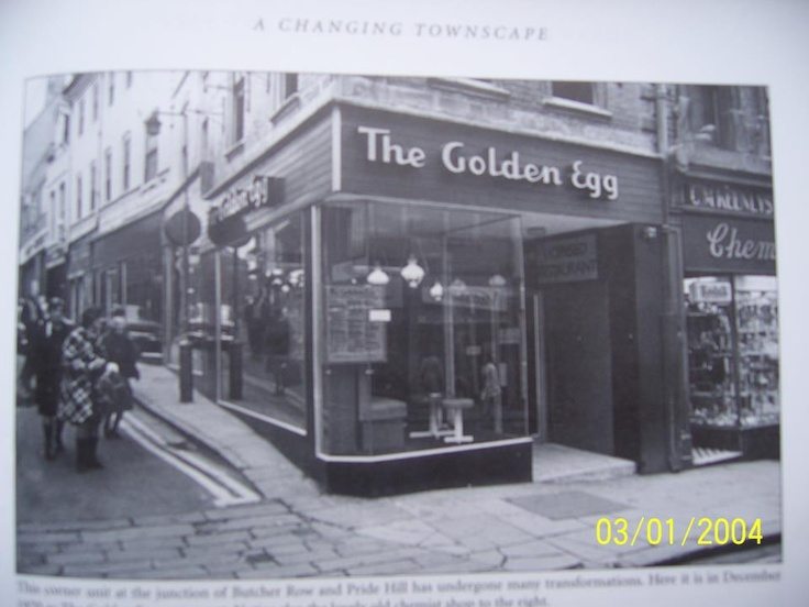 The Golden Egg cafe on the corner of Pride Hill/Butcher Row.  (My Mum used to work there!)  Shrewsbury, Shropshire