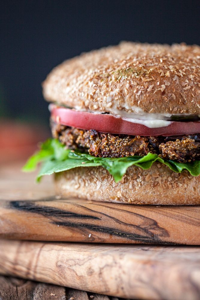 Amaranth Eggplant Burgers with Sriracha Tahini Sauce — #vegan #recipe from KeepinItKind.com