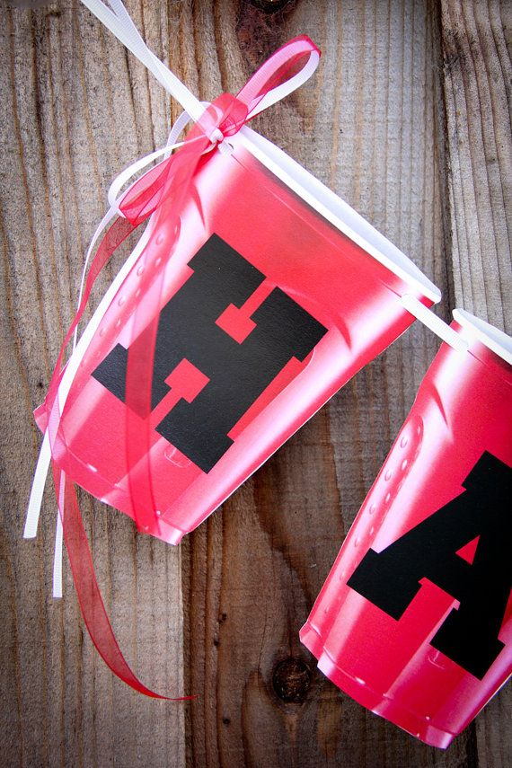Handmade Red Solo Cup Banner Happy Birthday by DawnNicoleDesign