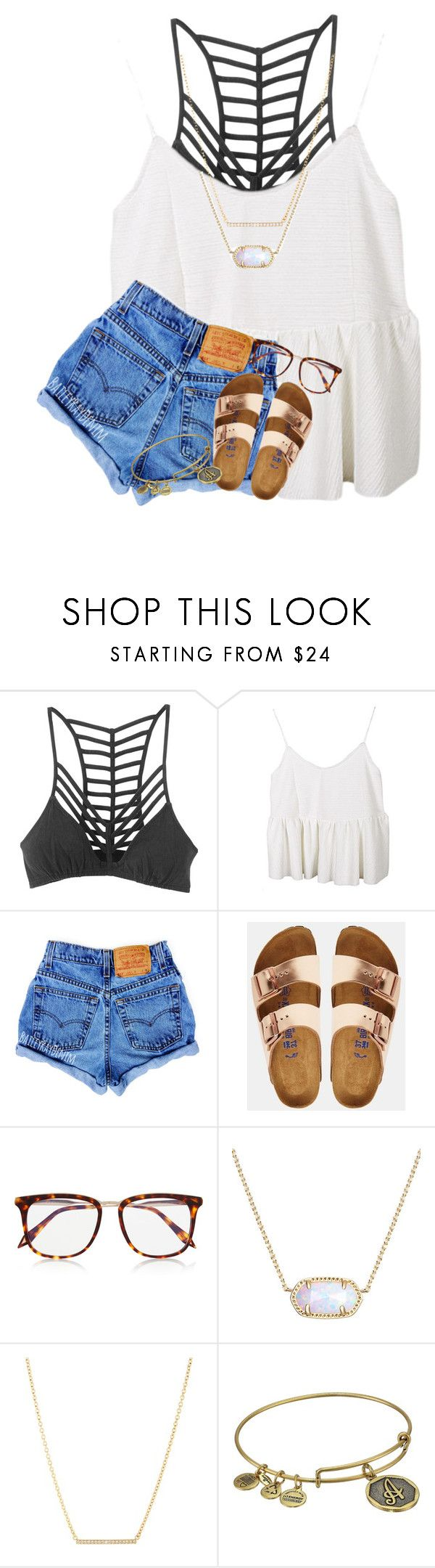 """""""&&; one of them is how bad I need ya"""" by abbypj ❤ liked on Polyvore featuring RVCA, Birkenstock, Victoria Beckham, Kendra Scott, Kate Spade and Alex and Ani"""