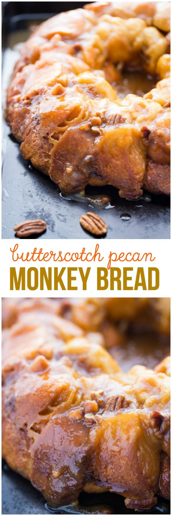 Butterscotch Pecan Monkey Bread - Ridiculously easy and sticky sweet! This monkey bread is slathered in a warm butterscotch pecan sauce and is so decadent.  recipe cake sugar desserts