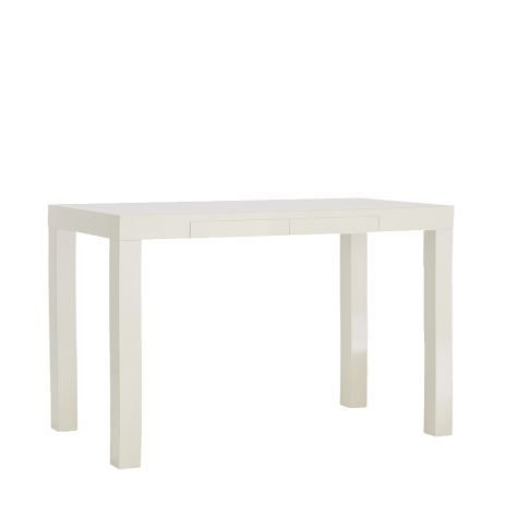 West Elm Parsons Desk With Drawers White Lacquer