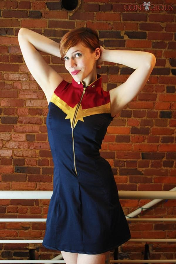The Perfect Captain Marvel Dress. Maybe this belongs in cosplay, but I would wear the hell out of this on a daily basis!