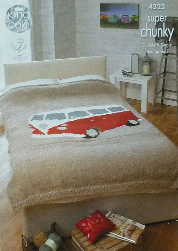 K4323 VW Campervan Double Bed Throw/Blanket/Bedspread Knitting Pattern in Super Chunky (Super Bulky) King Cole