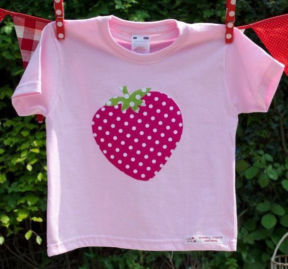 strawberry applique t shirt by cheekycharlieTs on Etsy, £12.00