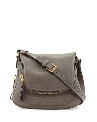 Jennifer Medium Leather Crossbody Bag, Graphite Dark Gray by Tom Ford at Neiman Marcus.