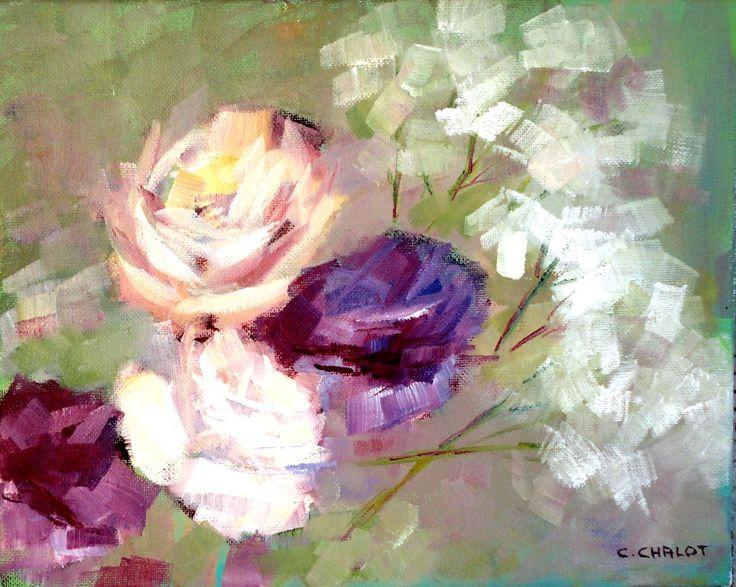 Fleurs blanches et violettes huiles sur toile 24*30 cm