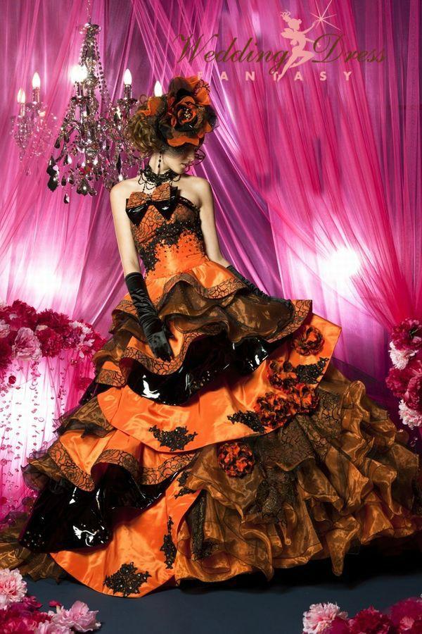 Wedding Dress Fantasy - Gorgeous Halloween Wedding Dress in Orange and Black, $1,900.00 (http://www.weddingdressfantasy.com/gorgeous-halloween-wedding-dress-in-orange-and-black/)