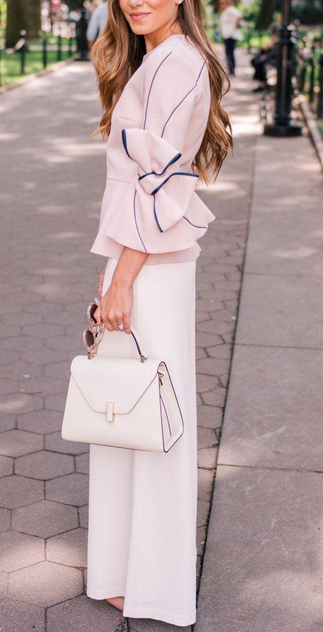 Pink bow top + white slacks