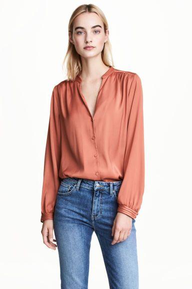 Satijnen blouse - Roest - DAMES | H&M NL 1