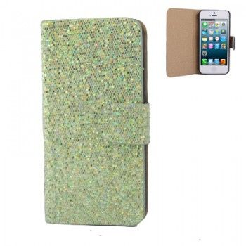 Belt Sequins Leather Case for iPhone 5 - Green
