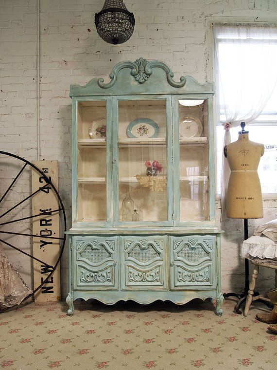 Painted Cottage Chic Shabby Aqua