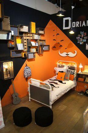 le orange et les moustaches : non mais l'idée est bonne... Chambre ado, parure de lit moustache