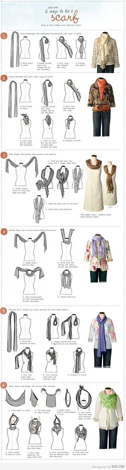 Scarf know-how   Larger images here: http://pleasantriesandpitbulls.com/2011/09/01/6-ways-to-tie-a-scarf/