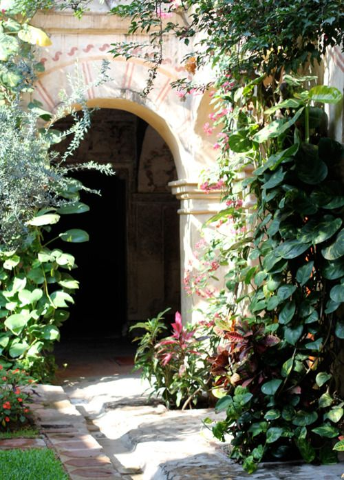 Entrance with lush plants