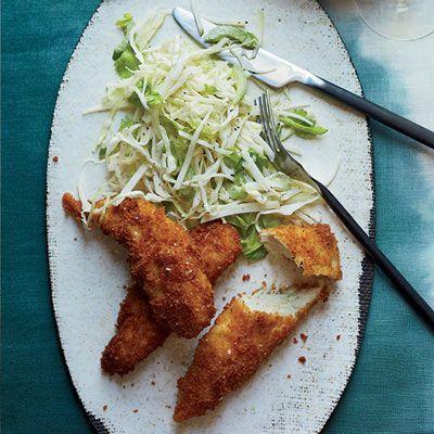 Panko-Crusted Chicken Tenders with Kohlrabi Slaw