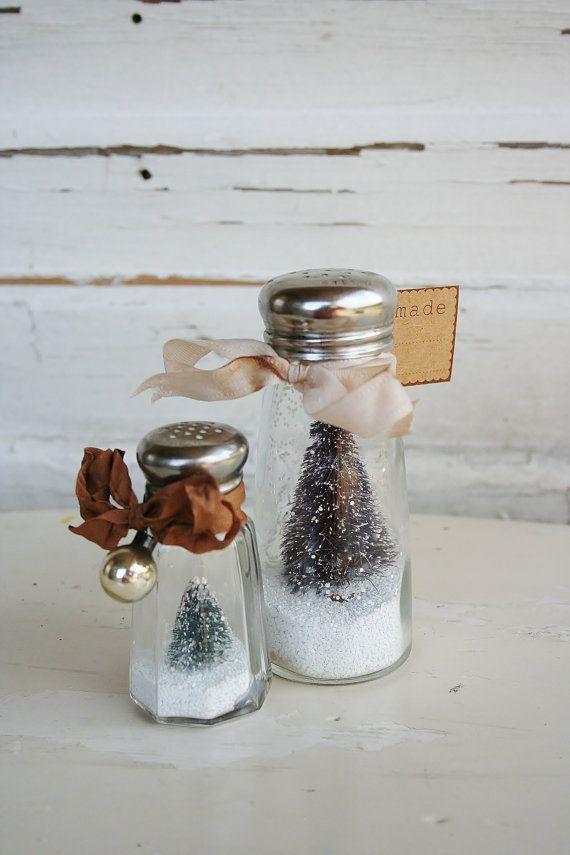 Bottle brush Shaker Snow GlobeVintage Shabby by TheFarmhousePorch, $16.00