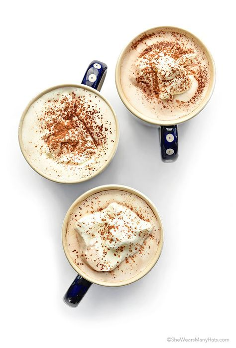 A delicious lightened up hot chocolate made with coconut milk