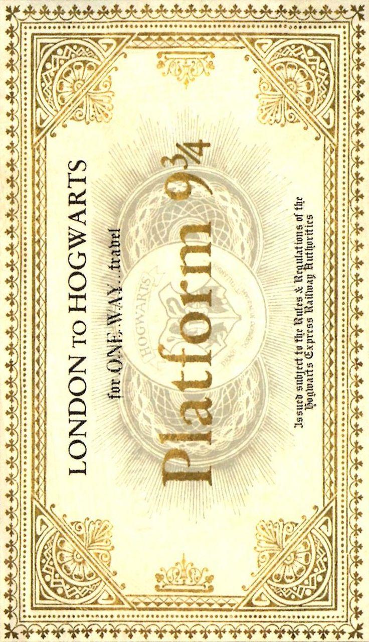 Harry Potter - Plataforma 9 3/4, Expresso de Hogwarts bilhete de ida …